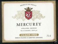 Etiquette de vin - MERCUREY