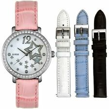 NEW GUESS SS SWAROVSKI LADY WATCH WHITE PINK BLACK BLUE LEATHER 4 STRAP U95043L1