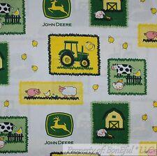 BonEful Fabric FQ Cotton Quilt White Yellow Green John Deere Tractor Farm Animal