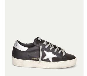 Golden Goose Hi Star Sneaker Black/Silver Sz 37 New In Box