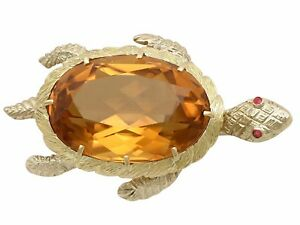 French 38.65 ct Citrine and Ruby, 18k Yellow Gold 'Turtle' Brooch, 1960s