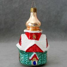 Christmas Ornament Building Glass CHURCH Green Red Gold Large 5