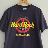 Unisex Vintage 90s Hard Rock Cafe Sacramento T-Shirt Medium Peace Sign Medium