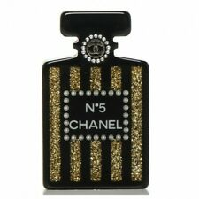NWT CHANEL COCO SUITE BROOCH Black Gold Glitter Pearl 2017 17A Perfume Bottle 5