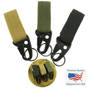 Molle Tactical Carabiner Backpack Belt Hook Quickdraw Survival EDC Nylon Clip