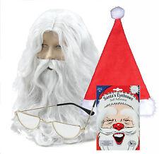 SANTA Claus Babbo Natale parrucca, barba, cappello, Half Moon Occhiali & Bianco Sopracciglia