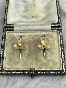 Edwardian 15ct Gold Pearl Flower Earrings