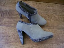 ladies beige faux suede ankle boots size 5 chunky high heel snake effect