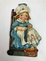 RARE G Trade Mark USA Sewing Girl Moving Eyes Antique Valentine Postcard FSTSHP