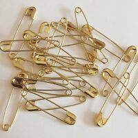 "Gold Safety Pins Size 2 ( 1 1/2"""" or 38mm )  Made in USA Pack / 100"