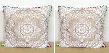 """Indian Mandala White Gold 2 Pcs Set Of 24"""" Square Sofa Pillows Cushion Covers"""
