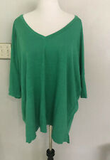 Eileen Fisher Oversized  Sz L Vneck Green Linen Batwing Dolmain Sleeve Tunic Top
