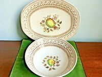 "Johnson Bros Old Granite Fruit Sampler 12"" Platter and 8 1/4"" Veg Serving Bowl"