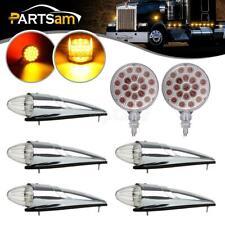 5xAmber 17LED Cab Marker Roof Lights+2pc 42LED Stop Tail Lights for Volvo Trucks