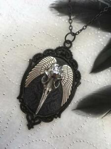 Gothic Raven Large Pendant Necklace Black Poe Wicca Crow Bird Skull Wing