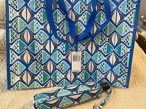 NEW! Vera Bradley Umbrella - Go Fish Blue - w/Market Tote - Blue/Turquoise