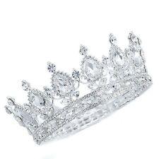 TQE36 Clear Rhinestone Crystal Alloy Holy White Tiara Princess Big Crown