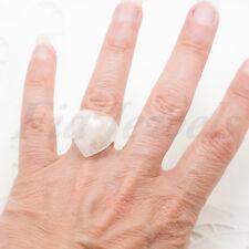 Anello vintage regolabile con cuore in quarzo rosa naturale