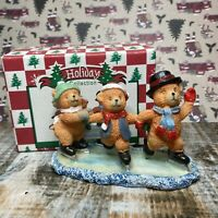 World Bazaars Vintage Bear Skating Scene Resin Figurine Holiday Collection Boxed