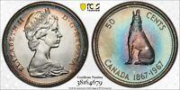 1967 CANADA 50 CENTS SILVER PCGS PL65 GEM GORGEOUS MULTI COLOR UNC TONED (DR)