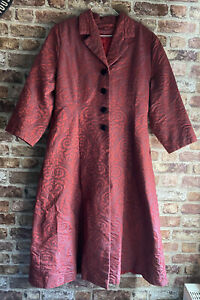 Vintage Red Burgundy Midi Long Trench Coat Collared Velvet Buttons Size 12 - 14