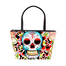 Colorful Sugar Candy Skull and Roses Tattoo Art Purse Large Shoulder Bag Punk