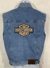 Harley Davidson S / M Primary Denim Jean Vest REFLECTIVE Bar & Shield 98288-98VM