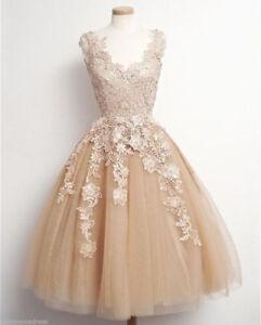 Tea Length Champagne Lace Applique Wedding Dress Princess Bridal Short Gown