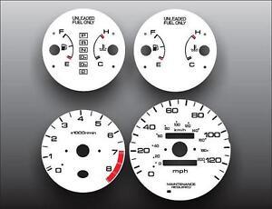 1996-2000 Honda Civic EX LX Dash Instrument Cluster White Face Gauges