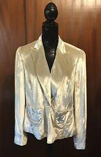 Emanuel Ungaro Vintage Cream Velour  Shiny Silk Blend Blazer Jacket Size 14