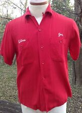 Vtg 1950s King Louie Bowling Shirt Red Chainstitch Bell Aircraft Corp FLAW Sz S