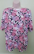 Charter Club Women's Plus 1X NEW Pink/Purple Floral Boat Neck Short Sleeve Top
