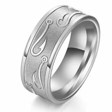 US SELLER Stainless Steel SILVER Carved FISH HOOK Ring Band Wedding Ring Size 13