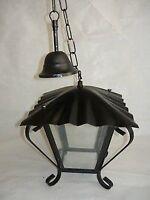 Lanterna lampada 4 vetri quadrata in ferro battuto