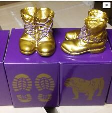 Omega Psi Phi Mini Desktop Gold Boots - Shipped Priority 2 Day Delivery