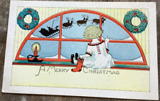 Vintage Christmas Postcard Santa Claus Sled And Reindeer Silhouette Girl Window