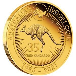 Australien - 25 Dollar 2021 - Känguru Nugget - 35. Jubiläum - 1/4 Oz Gold PP