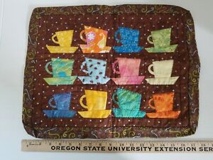"""COFFEE MUG Pieced Quilt Quilted Wall Hanging 18"""" x 14"""" Cafe Java Mocha Latte"""