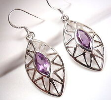 Faceted Amethyst Marquise Earrings 925 Sterling Silver Dangle Drop New