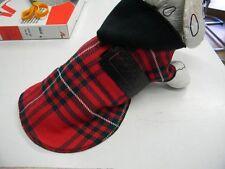 manteau chien 20cm velours rouge écossais creation toutou qui a du chien!