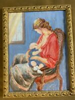"Small ""Mother Breast-Feeding Baby Scene"" Oil Painting - Framed"