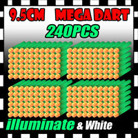 240PCS illuminate Refill Foam Bullet Darts for Nerf Elite Mega Centurion GUN U