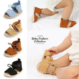 Baby Girls Dots Lace-ups Sandals Soft Non-Slip Rubber Sole Flat Walking Sandals