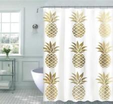 Kate Aurora Golden Metallic Pineapples Fabric Shower Curtain - Standard Size