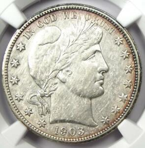 1903-S Barber Half Dollar 50C Coin - Certified NGC AU Details - Rare Date!