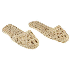 1 Pair Home Slippers Cane Rattan Straw Slippers Cane Summer Sandals Size 37