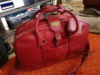 Samsonite, valise cabine en cuir, très haut de gamme, high quality red leather
