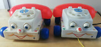 Set of 2 x Vintage 1961 Fisher Price CHATTER TELEPHONE Retro 60's WOODEN TOY