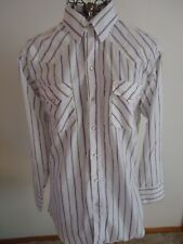 Mens 15 1/2 x 33 Ranch & Town White/Purple/Gray Stripe LS Shirt