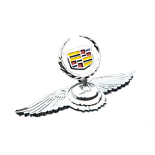 Car Front Hood Stand Ornament Cadillac Wing Emblem for XTS CT6 CT4 SRX 3D Chrome